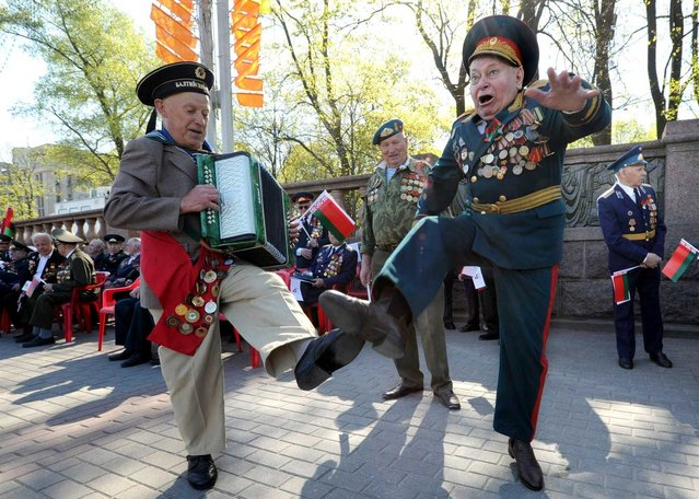 World War II veterans danced during Victory Day celebrations in Minsk, Belarus, Thursday. Belarus and other former Soviet countries celebrated the 1945 victory over Nazi Germany on Thursday. (Photo by Viktor Drachev/AFP Photo)