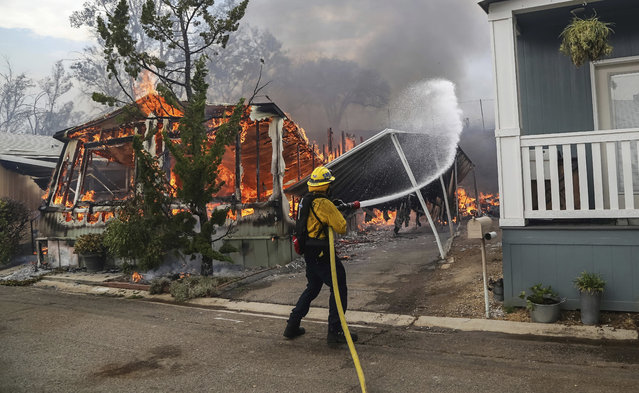 Firefighters battle flames at the Alpine Oaks Estates mobile home park during a wildfire Friday, July 6, 2018, in Alpine, Calif. Dozens of fires are burning across the dry American West, fueled by rising temperatures and gusty winds that were expected to last through the weekend. (Photo by Eduardo Contreras/The San Diego Union-Tribune via AP Photo)