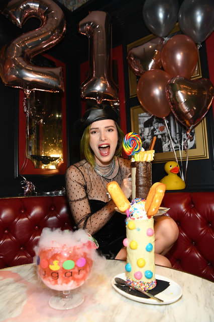 Bella Thorne celebrates her 21st Birthday at Sugar Factory American Brasserie Las Vegas at Fashion Show Mall on October 8, 2018 in Las Vegas, Nevada. (Photo by Denise Truscello/WireImage)