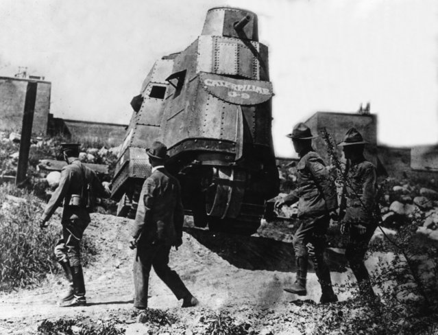 An American tank, 3rd April 1917. (Photo by Topical Press Agency/Getty Images)
