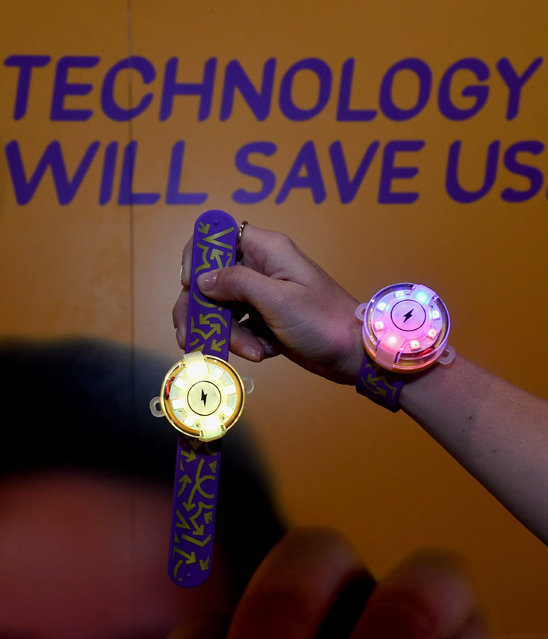 Two Mover Kits by Technology Will Save Us are displayed at CES 2017 at the Sands Expo and Convention Center on January 5, 2017 in Las Vegas, Nevada. The programmable kit is an eight-color LED wearable with a motion sensor and compass that kids make and code themselves teaching them the basics of electronics and problem solving creatively. (Photo by Ethan Miller/Getty Images)