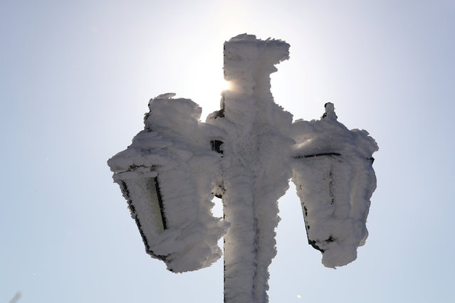 Streetlamps are covered in snow and ice at the Feldberg mountain near Frankfurt, Germany, January 5, 2017. (Photo by Kai Pfaffenbach/Reuters)