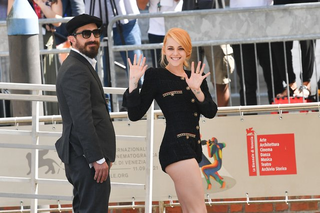 Kristen Stewart and Pablo Larrain is seen arriving at the 78th Venice International Film Festival on September 03, 2021 in Venice, Italy. (Photo by Jacopo Raule/Getty Images)