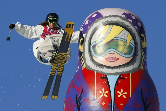 Sweden's Henrik Harlaut performs a jump during the men's freestyle skiing slopestyle qualification round at the 2014 Sochi Winter Olympic Games in Rosa Khutor February 13, 2014. (Photo by Lucas Jackson/Reuters)