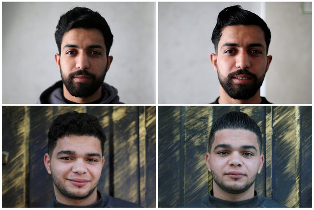 A combination picture that shows two customers posing for a picture before having their hair styled and straightened (L) and after the styling (R) by Palestinian barber Ramadan Odwan in a salon in Rafah in the southern Gaza Strip February 5, 2017. (Photo by Ibraheem Abu Mustafa/Reuters)