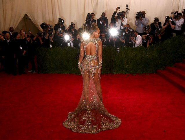 "Beyonce arrives at the Metropolitan Museum of Art Costume Institute Gala 2015 celebrating the opening of ""China: Through the Looking Glass"" in Manhattan, New York May 4, 2015. (Photo by Lucas Jackson/Reuters)"