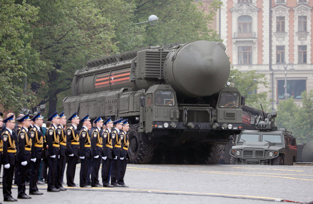 A Russian strategic nuclear missile RS-24 Yars rolls during Victory Day parade in Red Square in Moscow, Russia, 09 May 2019. Russia marks 09 May the 74th anniversary of the victory in the World War II over Nazi Germany and its allies. The Soviet Union lost 27 million people in the war. (Photo by Yuri Kochetkov/EPA/EFE)