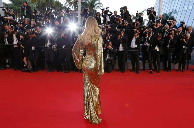 "Model Natasha Poly poses on the red carpet as she arrives for the screening of the film ""The Sea of Trees"" in competition at the 68th Cannes Film Festival in Cannes, southern France, May 16, 2015. (Photo by Yves Herman/Reuters)"
