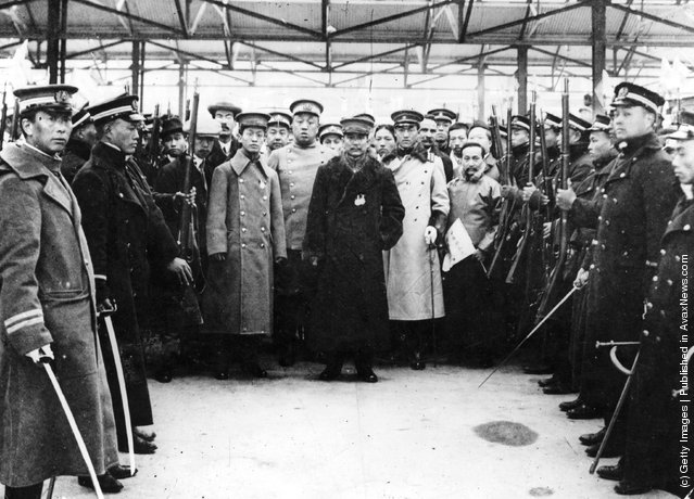 1912: Founder and early leader of China's Nationalist Party Sun Yat Sen, also spelled Sun Yixian, at Shanghai before leaving for Nanking