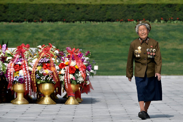 Korean War veteran Jon Sun Rye, 83 years old, walks after she paid respect to former leaders Kim Il-sung and Kim Jong-il at Mansu Hill in Pyongyang, North Korea, 15 April 2016. (Photo by Franck Robichon/EPA)
