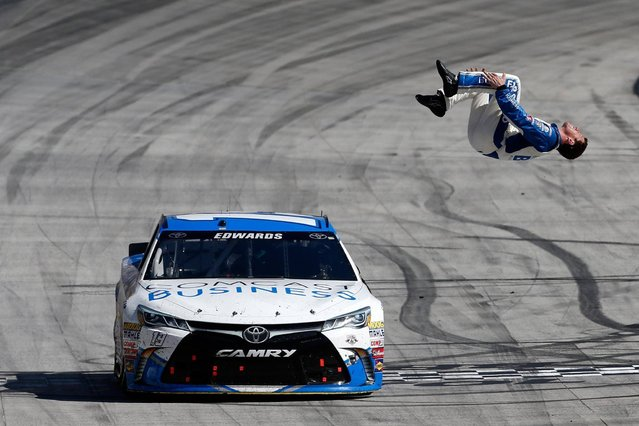 Carl Edwards, driver of the #19 Comcast Business Toyota, celebrates winning the NASCAR Sprint Cup Series Food City 500 at Bristol Motor Speedway on April 17, 2016 in Bristol, Tennessee. (Photo by Matt Sullivan/Getty Images)