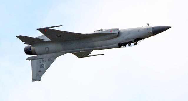 The JF-17 Thunder multi-role fighter jointly developed by China and Pakistan performs its demonstration flight at the Paris Air Show in Le Bourget, north of Paris, Tuesday June 16, 2015. Some 300,000 aviation professionals and spectators are expected at this weekends Paris Air Show, coming from around the world to make business deals and see dramatic displays of aeronautic prowess and the latest air and space technology. (AP Photo/Remy de la Mauviniere)