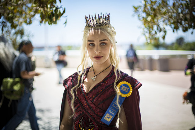"Cosplayer Eiraina Ladell as Daenerys Targaryen from ""Game of Thrones"" at 2019 Comic-Con International on July 20, 2019 in San Diego, California. (Photo by Daniel Knighton/Getty Images)"