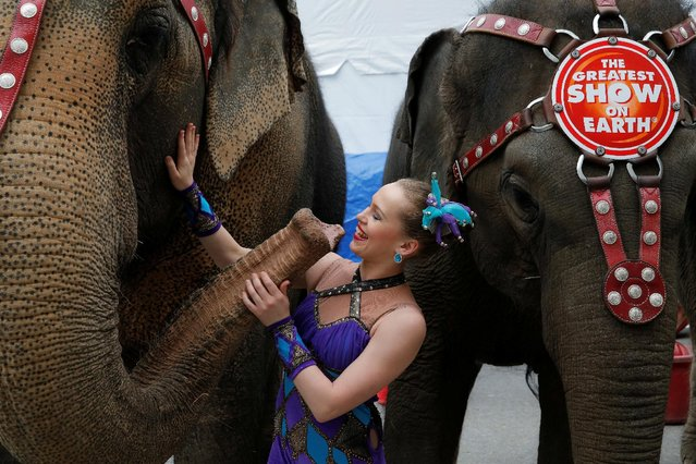 """Circus performer Hanna Fatieiva poses with the performing elephants at Ringling Bros and Barnum & Bailey Circus' """"Circus Extreme"""" show at the Mohegan Sun Arena at Casey Plaza in Wilkes-Barre, Pennsylvania, U.S., April 30, 2016. (Photo by Andrew Kelly/Reuters)"""
