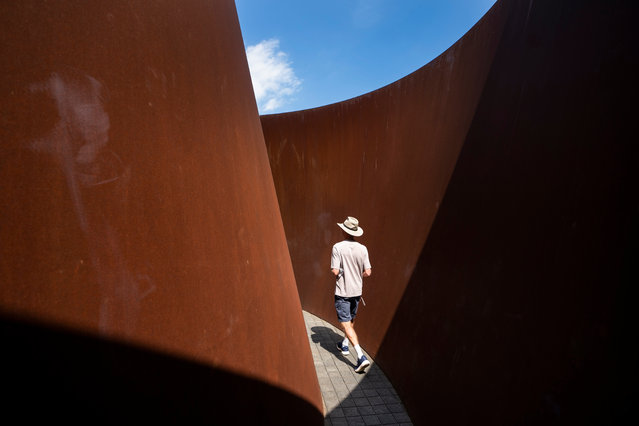 "A visitor walks through Richard Serra's sculpture ""Sylvester"" at the Glenstone Museum in Potomac, Maryland, USA, 22 August 2019. Spread across 230 acres in a posh Washington suburb, Glenstone is the largest contemporary private museum in the country. The museum's stated mission is to integrate art, architecture, and landscape into a serene and contemplative environment. (Photo by Jim Lo Scalzo/EPA/EFE)"