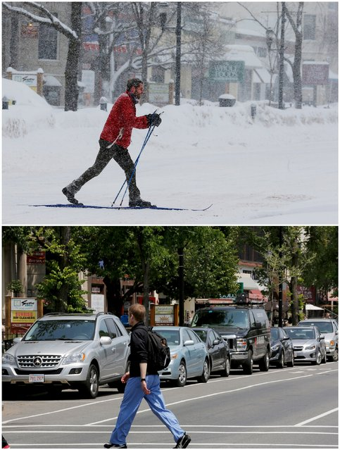 A combination picture shows a man skiing across an intersection during a winter snow storm in Brookline, Massachusetts, United States February 9, 2015 (top), and a pedestrian crossing in the same place, June 12, 2015. (Photo by Brian Snyder/Reuters)