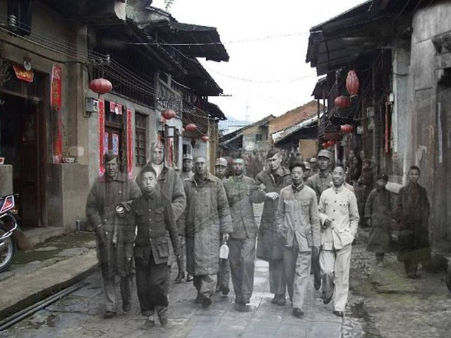 Raiders: 4 members of Doolittle's Raiders after meeting with friendly Chinese forces are escorted through a village on the way back to being re-patriated. 1942 – 2014. (Photo by Adam Surrey)