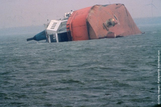 The wreck of the Herald of Free Enterprise, which capsized near Zeebrugge on the 6th of March 1987