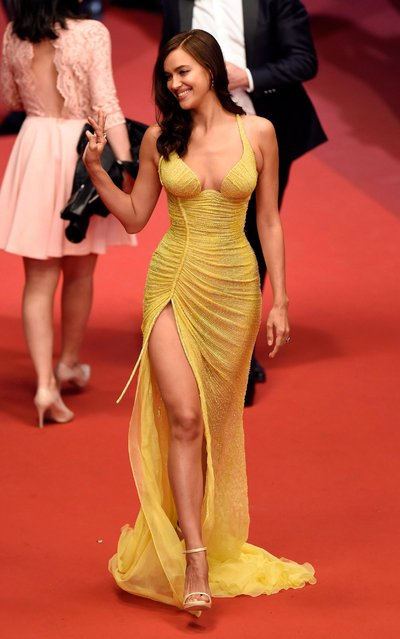 """Irina Shayk attends the """"Hikari (Radiance)"""" screening during the 70th annual Cannes Film Festival at Palais des Festivals on May 23, 2017 in Cannes, France. (Photo by Antony Jones/Getty Images)"""
