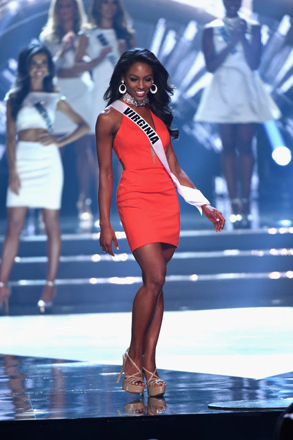 Top 15 finalist Miss Virginia USA 2016 Desi Williams walks onstage during the 2016 Miss USA pageant at T-Mobile Arena on June 5, 2016 in Las Vegas, Nevada. (Photo by Ethan Miller/Getty Images)