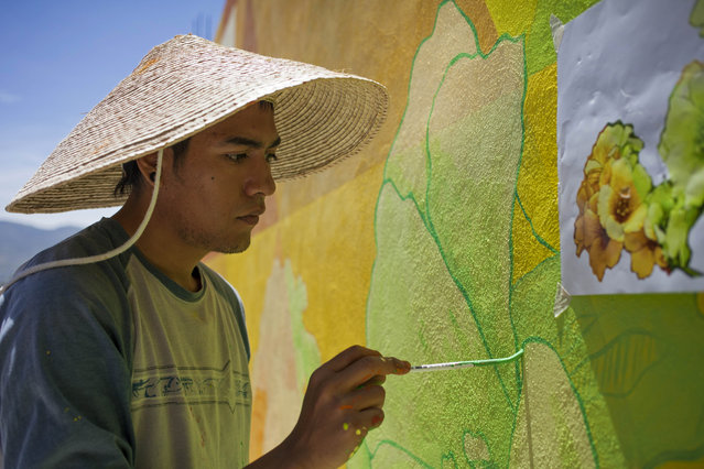 Irving Trejo, of the artist collective German Crew, paints a section of a mural in the Palmitas neighborhood of Pachuca, Mexico, Thursday, July 30, 2015. The government-sponsered project is called Pachuca Paints Itself and aims to promote community teamwork. (Photo by Sofia Jaramillo/AP Photo)