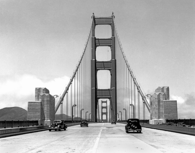Press cars going across the about to be opened new Golden Gate Bridge, San Francisco, California, May 24, 1937. (Photo by Underwood Archives/Getty Images)