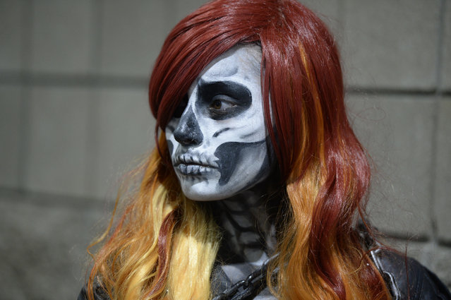 Sarah Sanchez dressed as a female Ghost Rider at Denver Comic Con at the Colorado Convention Center June 16, 2016. (Photo by Andy Cross/The Denver Post)