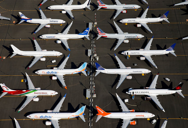 Grounded Boeing 737 MAX aircraft are seen parked in an aerial photo at Boeing Field in Seattle, Washington, U.S. July 1, 2019. (Photo by Lindsey Wasson/Reuters)