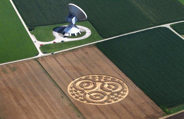 People walk through crop circles in a cornfield near Raisting, Germany, on July 28, 2014. (Photo by Karl-Josef Hildenbrand/DPA)