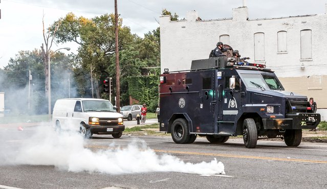 A police vehicle is seen during a demonstration after a shooting incident in St. Louis, Missouri August 19, 2015. (Photo by Lawrence Bryant/Reuters)