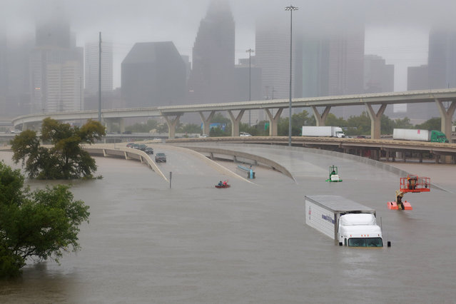 Interstate highway 45 is submerged during widespread flooding in Houston, Texas on August 28, 2017. (Photo by Richard Carson/Reuters)