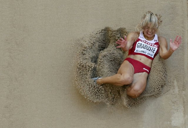 Aiga Grabuste of Latvia competes in the women's long jump qualifying round during the 15th IAAF World Championships at the National Stadium in Beijing, China, August 27, 2015. (Photo by Kim Kyung-Hoon/Reuters)