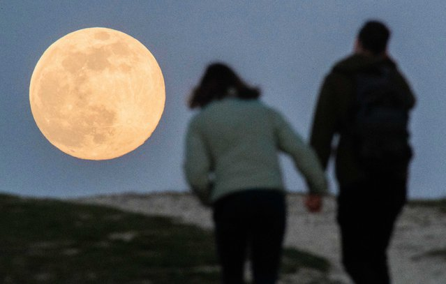 A couple is walking hand-held up Kronsberg, just outside Hanover, Germany on April 7, 2020, when the moon rises on the horizon as the so-called supermoon. The moon reaches its perigee, i.e. the point closest to the Earth's orbit, on the night of 7-8 April as a full moon and therefore appears particularly large to the human observer. (Photo by Julian Stratenschulte/dpa via ZUMA Press)