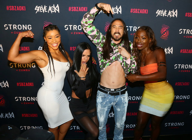 Steve Aoki (C) arrives for the premiere of new music from Steve Aoki For STRONG By Zumba at Exchange LA on October 4, 2017 in Los Angeles, California. (Photo by Gabriel Olsen/Getty Images)