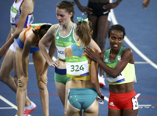 2016 Rio Olympics, Athletics, Preliminary, Women's 1500m Round 1, Olympic Stadium, Rio de Janeiro, Brazil on August 12, 2016. Genzebe Dibaba (ETH) of Ethiopia reacts. (Photo by David Gray/Reuters)