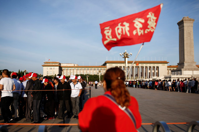 People line up to visit the mausoleum of China's late Chairman Mao Zedong on the 40th anniversary of his death in Beijing, China, September 9, 2016. (Photo by Thomas Peter/Reuters)