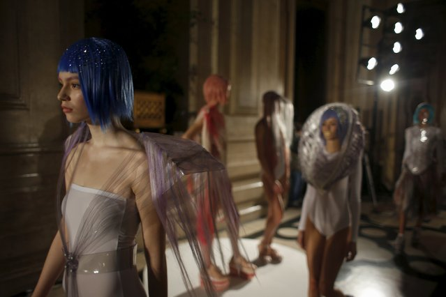 Models present creations by designer Olga Noronha, as part of her Summer 2016 collection, during Lisbon Fashion Week, Portugal October 10, 2015. (Photo by Rafael Marchante/Reuters)