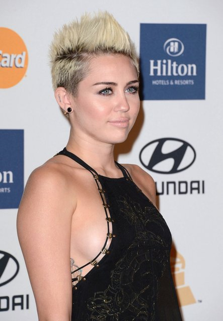 Singer/actress Miley Cyrus arrives at the The 55th Annual GRAMMY Awards – Pre-GRAMMY Gala And Salute To Industry Icons Honoring L.A. Reid at the Beverly Hilton Hotel on February 9, 2013 in Los Angeles, California. (Photo by Jeffrey Mayer/WireImage)