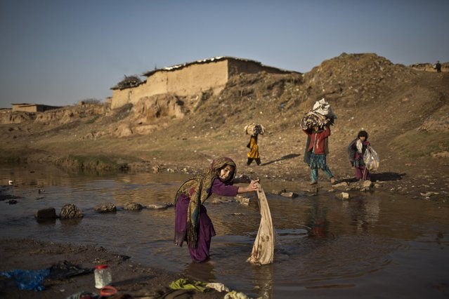 Afghan refugee Fatima Wakeel, 7, washes her laundry in a polluted stream on the outskirts of Islamabad, Pakistan, Wednesday, January 14, 2015. (Photo by Muhammed Muheisen/AP Photo)