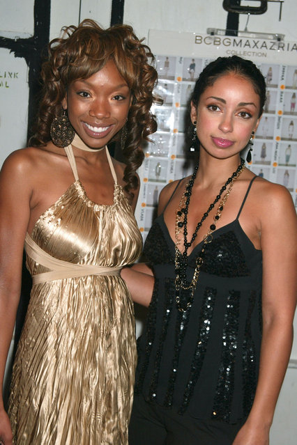 Brandy and Mya during Olympus Fashion Week Spring 2006 – BCBG Max Azria – Front Row and Backstage at Bryant Park in New York City, New York, United States. (Photo by Gregory Pace/FilmMagic)
