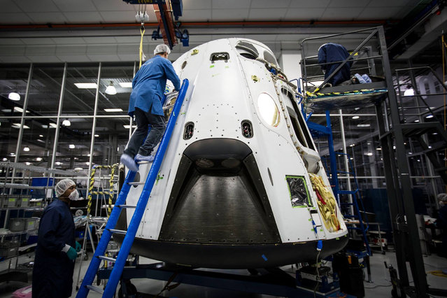 Crew Dragon, America's next generation crewed spacecraft is almost ready for a test flight on January 23, 2015. Pad abort vehicle shipping to FL shortly. (Photo by SpaceX Photos)