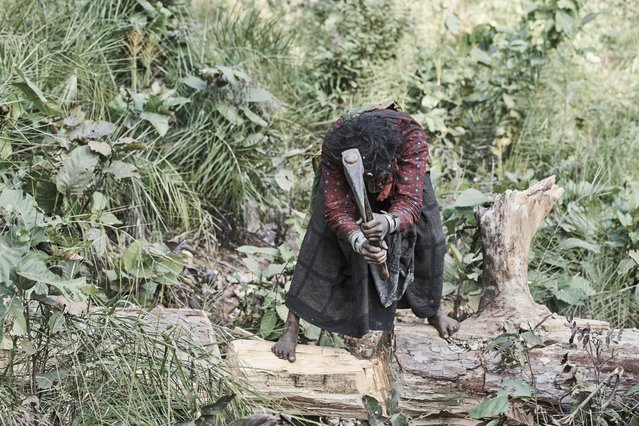 When a Raute dies they are buried in the forest in an upright position, their skull is also pierced to release their spirit into heaven in Accham District, Nepal, January 2016. (Photo by Jan Moller Hansen/Barcroft Images)