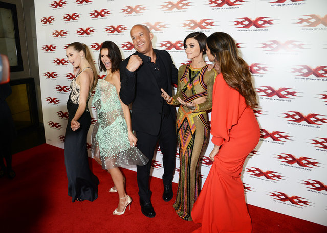 "(L-R) Hermione Corfield, Nina Dobrev, Vin Diesel, Ruby Rose and Deepika Padukone attend the premiere of ""XXX-Return Of Xander Cage"" at O2 Cineworld on January 10, 2017 in London, England. (Photo by Dave J Hogan/Getty Images)"