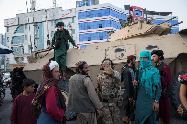 Taliban soldiers are seen in a street in Herat, Afghanistan on September 10, 2021. (Photo by WANA (West Asia News Agency) via Reuters)