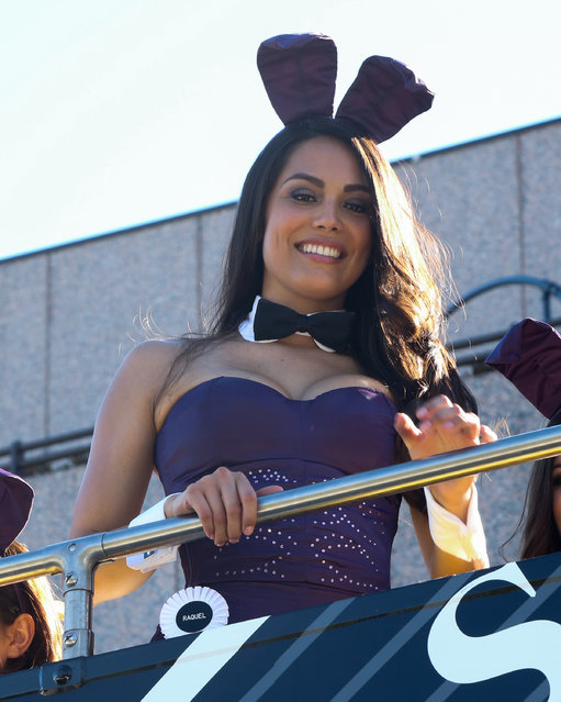Playboy Playmate Raquel Pomplun attends the Playboy's 60th Anniversary Celebration with 60 bunnies bus tour Starting at the Playboy World Headquarters on January 16, 2014 in Beverly Hills, California. (Photo by Paul Archuleta/FilmMagic)