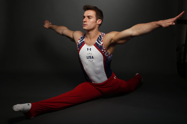"Gymnast Sam Mikulak poses for a portrait at the U.S. Olympic Committee Media Summit in Beverly Hills, Los Angeles, California March 7, 2016. ""My favorite artist to listen to during training is Kygo"", said Mikulak. ""He's just happy, positive vibes"". (Photo by Lucy Nicholson/Reuters)"