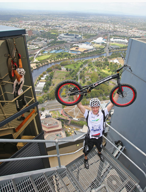 Krystian Herba, a Polish extreme cyclist celebrates after jumping up the steps of Eureka Tower on a bicycle as he breaks a Guinness World Record at Eureka Tower on February 4, 2014 in Melbourne, Australia. Herba jumped up 2,919 steps on his bicycle in 1 hour 45 minutes without supporting himself with his hands or feet to break his own Guinness World Record. (Photo by Scott Barbour/Getty Images)
