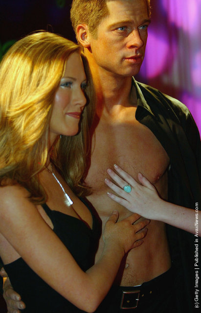 Waxworks of Brad Pitt and Jennifer Aniston