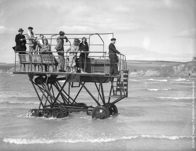 A caterpillar driven ferry with a 24 horsepower engine takes holidaymakers from the mainland at Bigbury in Devon to Burgh Island, a quarter of a mile away