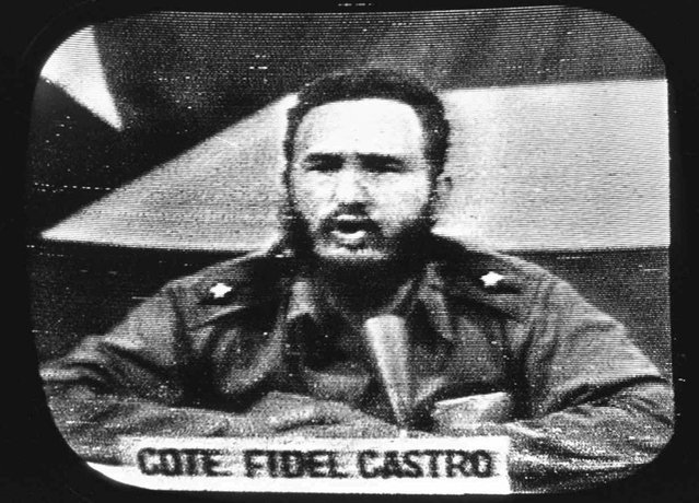 "Cuban President Fidel Castro replies to President Kennedy's naval blockade via Cuban radio and television on October 23, 1962. To defuse the Cuban missile crisis, President Kennedy promised not to invade the island nation, but newly declassified documents show he later retreated from the pledge, fearing Cuba could become an ""invulnerable base"". The change of heart meant that the U.S.-Soviet understandings that resolved the 1962 crisis were never made permanent. (Photo by AP Photo)"